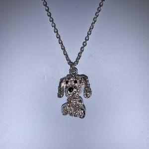 Silver tone dog/puppy necklace